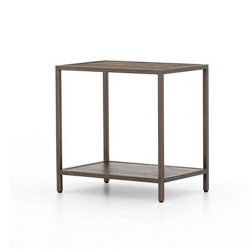 Oak End Table with Antiqued Bronze Frame