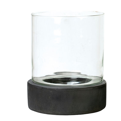 Glass Hurricane Candle Holder with Cement Base