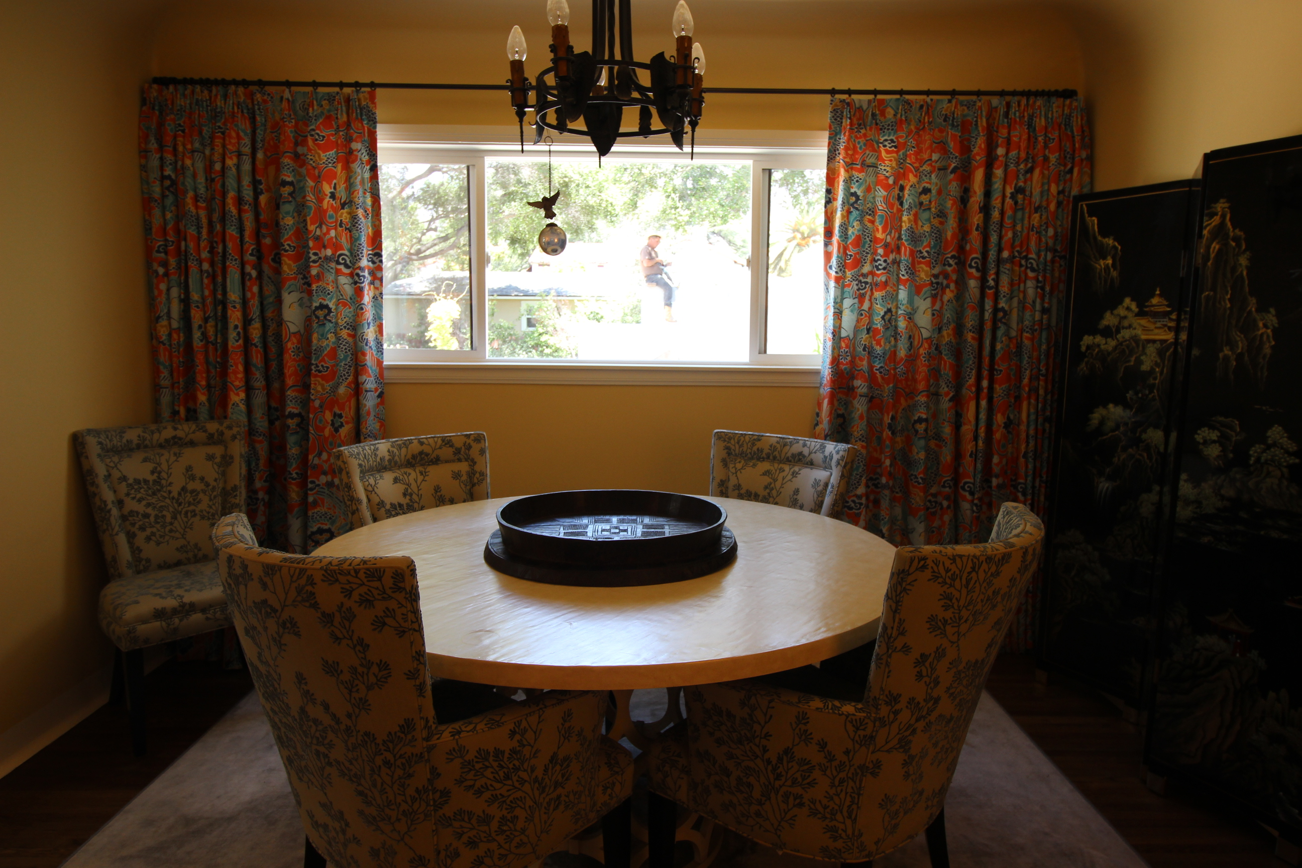 Colorful custom dining room drapery