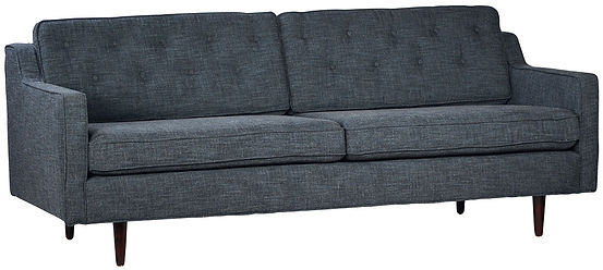 DOV12009, sofa, midcentury, modern, shallow,tufted, back, two cushion, square, squared, blue, gray, dar, texture, tapered, legs, upholstered, Ojai, design, designer, firm, Califrnia, home