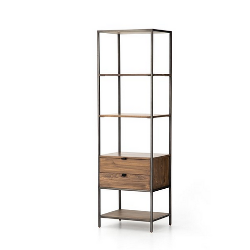 Solid Poplar Bookcase with Raw Iron Frame