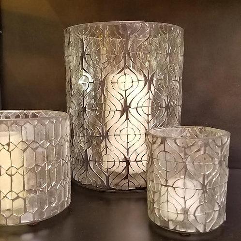 Hand Cut Clear Glass Hurricane Candle Holder, Circlet Design