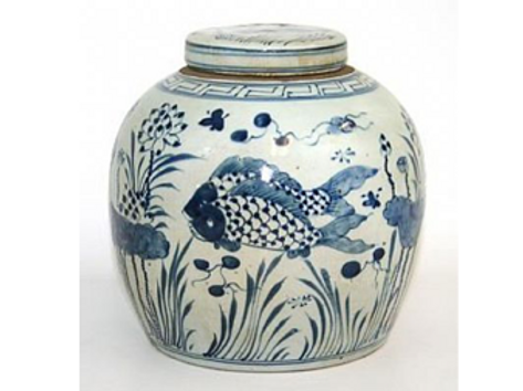 Blue and White Ceramic Ginger Jar with Fish Motif