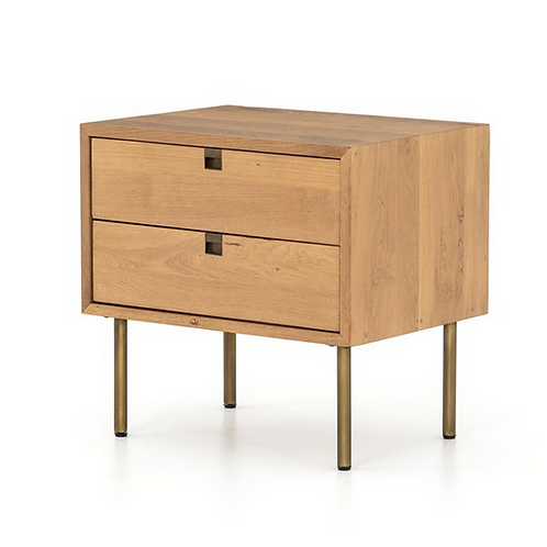 Solid Oak Night Stand with Iron Hardware