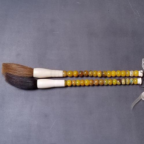 "Jade & Bone Calligraphy Brushes with Horse Hair Bristles, 14"""