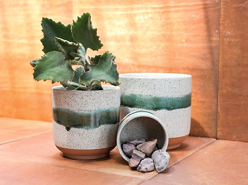 Green Stripe Ceramic Pot