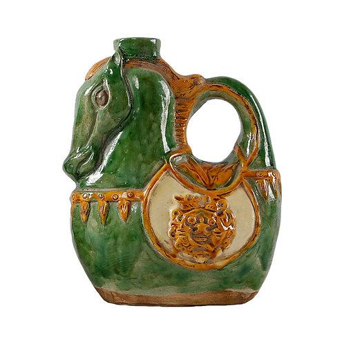 Horse Shaped Vase in 3 Color Glaze