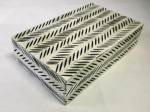 "Wood and Bone Inlay Box In a Chevron Pattern, 8"" x 5"" x 2"""