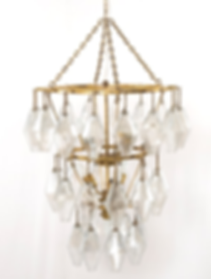 IHTN-004A, chandelier, beaded crystal, glass, brass, gold, long, pendant, new, vintage inspired, lotus, formal, feminine, small, two, lights, decor, decorator, design, designer, home, house, interior, dining room, entry, Ojai, California, CA, Ventura, county, Santa Barbara