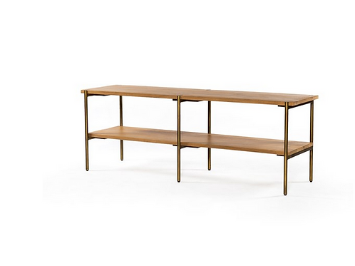 Solid Oak Console with Iron Hardware