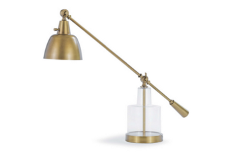Brass and Glass Task Table Lamp