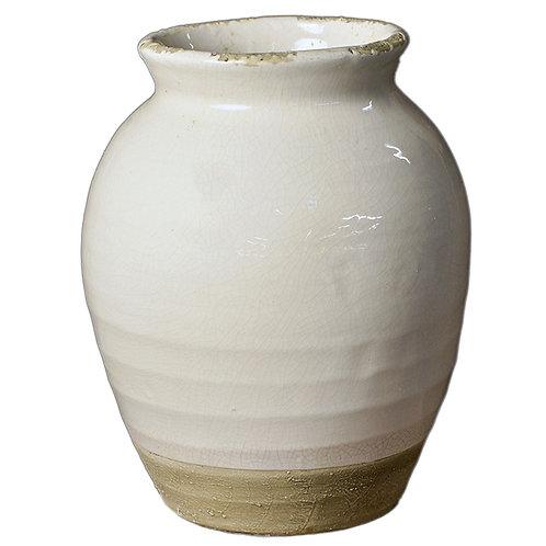 Terracotta Vase with White Glaze