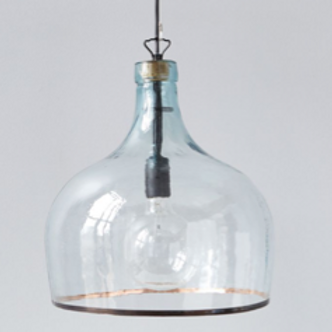 Recycled Hand Blown Glass Demijohn Pendant Lamp, 13 x13 x17