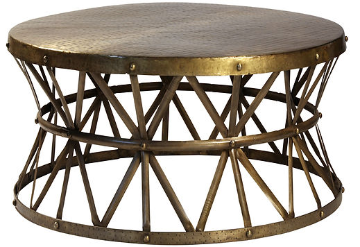 AC048CTS, small lionel, hammered, coffee, table, industrial, steel, brass finish, rivets, round, cool coffee table