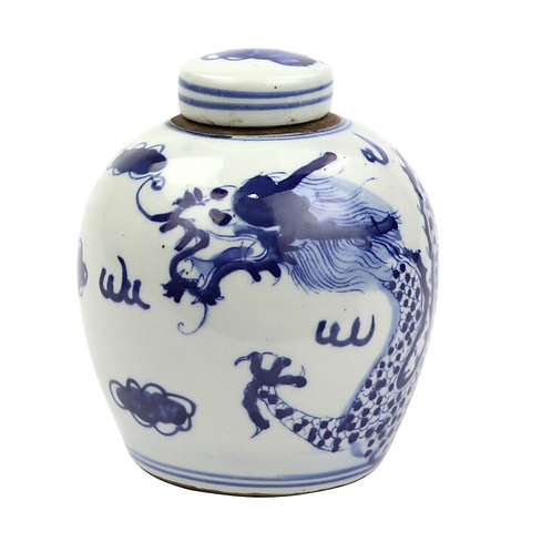 Blue and White Lidded Jar with Dragon Motif