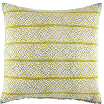 Hand Block Printed Extra Large Pillow in Yellow and Blue