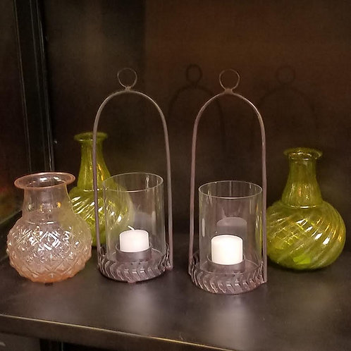 """Black Hanging Hurricane Lamp with Glass Insert, 10"""" tall"""