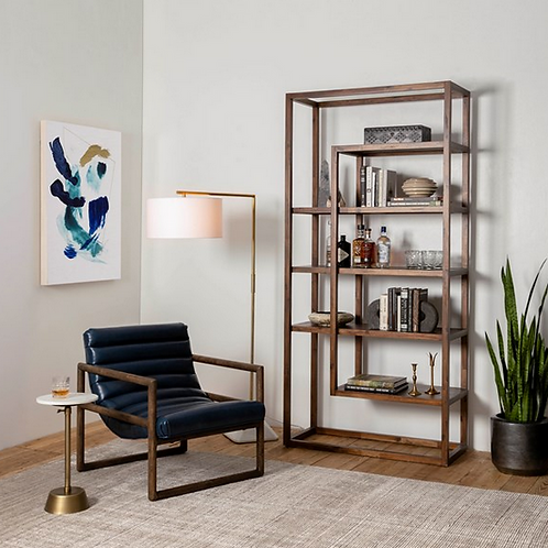 Acacia Wood Open Shelving Bookshelf