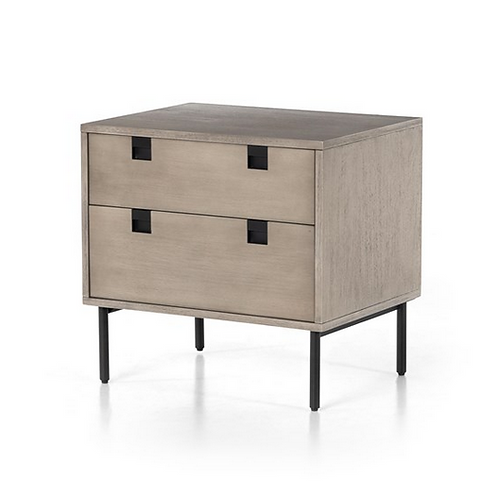 2 Drawer Acacia Veneer Nightstand in Grey Wash