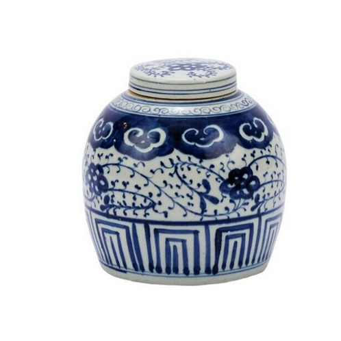 Blue and White Lidded Ming Jar with Climbing Vine Motif