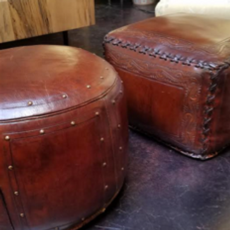 Hand Tooled Leather Ottoman