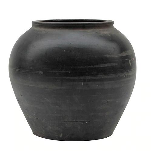 Large Vintage Black Pottery Jar