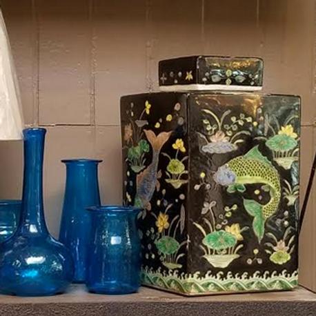 Hand-Painted Rectangular Porcelain Tea Jar