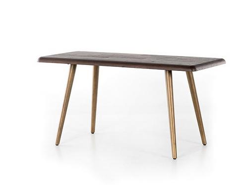 Reclaimed Wood Desk in Burnt Oak Finish with Burnished Brass Legs