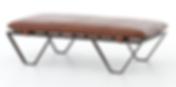 4h, darrow, leather, top, ottoman,  modern, iron, slatted, base, straps, top grain, full grain, interior design, California, Ojai