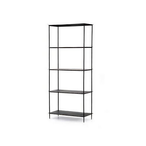 Industrial Style Metal Bookcase in a Rubbed Black Finish
