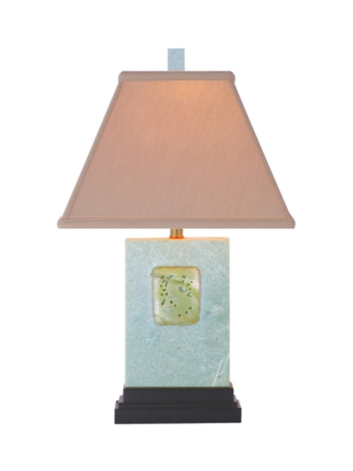 Green Jade Table Lamp with Linen Shade and Jade Medallion