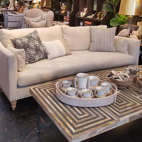 """Custom Sofa with Antique Brass Nail Head Accent and Down Feathre Fill, 84"""" x 40"""""""