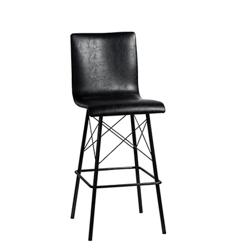"Faux Leather Barstool with Cross Wire Accent, 44"" x 23"" x 17"""