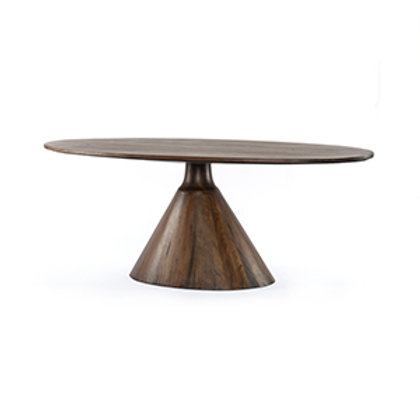 Oval Wood Dining Table with Tapered Base