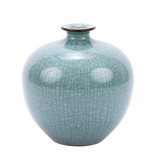 Crackled Celadon Pomegranate Vase