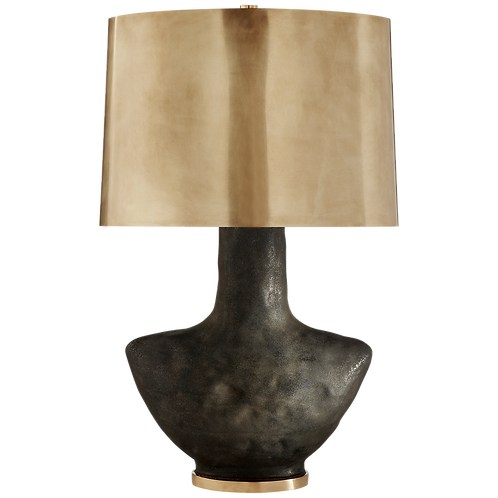 Black Ceramic and Brass Table Lamp