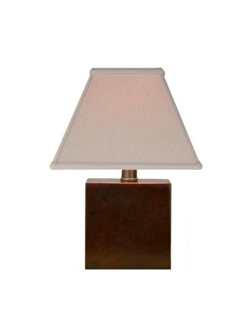 Mini Brown Jade Table Lamp, Square