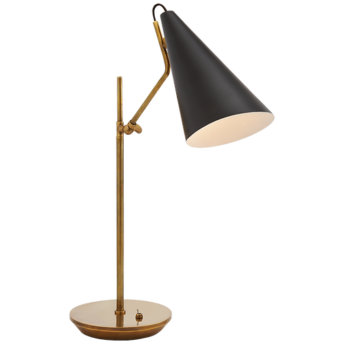 Table Lamp in Hand-Rubbed Antique Brass with Conical Shade