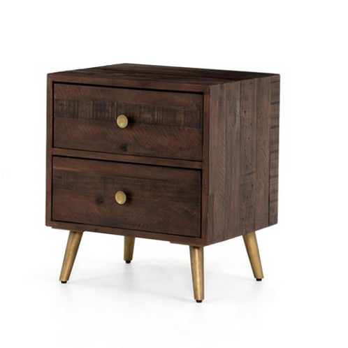 Reclaimed Wood Nightstand with Tapered Iron Legs