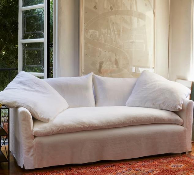Cushy Slip Covered Sofa