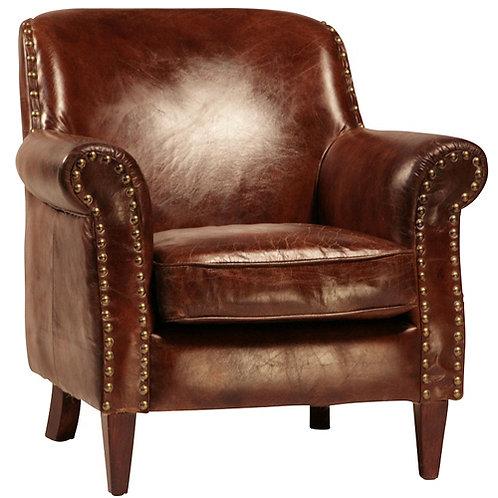Top Grain Brown Leather Club Chair