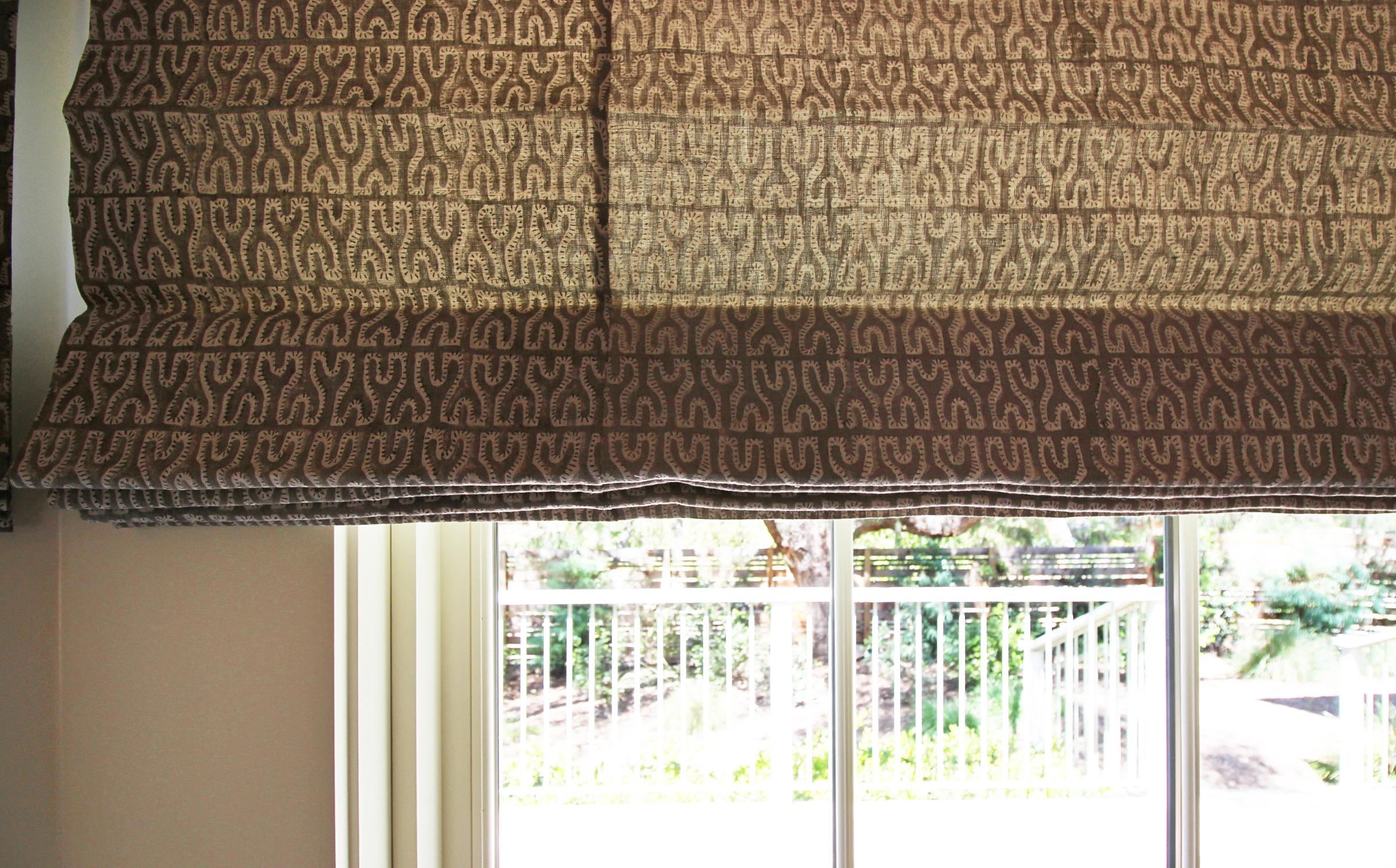 Hand block printed linen roman shade
