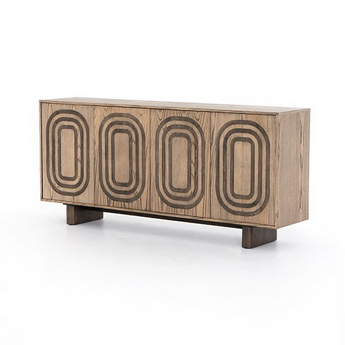Sandy Ash Sideboard with Oval Inlay Design
