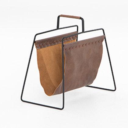 Leather & Iron Magazine Rack