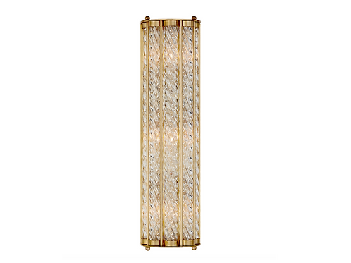Long Art Deco Style Wall Sconce with Spiral Glass Accent