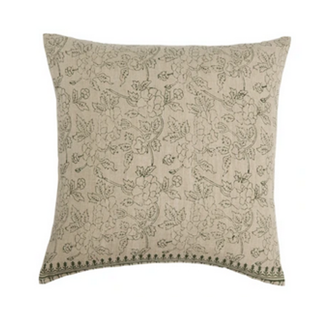 Flowered Olive and Tan Pillow, Down Filled