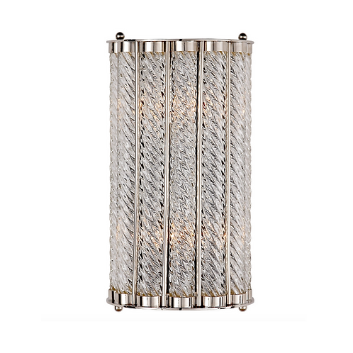 Art Deco Style Wall Sconce with Spiral Glass Accent