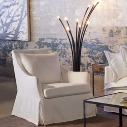 Gentle Lines Provide an Elegant Appearance with This Chair, Available Slipcovered or Upholstered