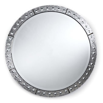 down, home, furnishings, ojai, ca, california, ventura, county, metal, rivets, round, mirror, distressed, finish, RAVenetian.jpg
