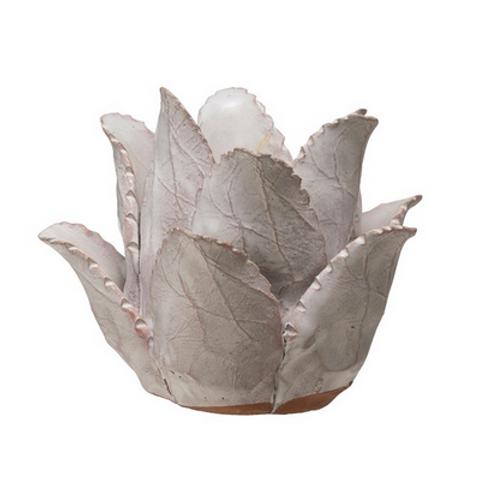 White Glazed Terra Cotta Flower Tea Light Holder